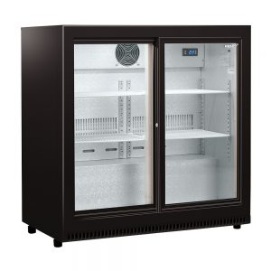 HUS-C2-BLK-SD - Husky Double Glass Sliding Door Bar Fridge in Black Finish