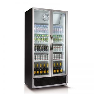 Husky Double Glass Door Commercial Refrigerator in Black