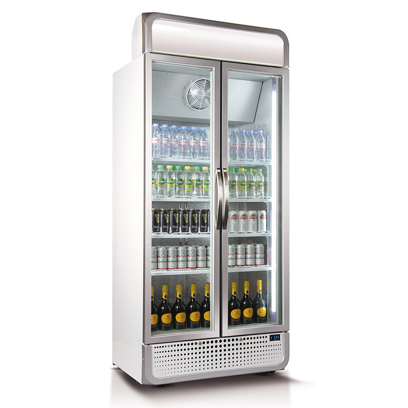 Husky C8 Double Glass Door Commercial Refrigerator