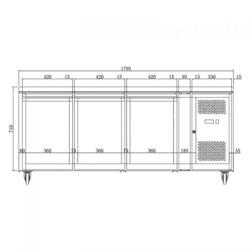Husky Triple Door Prep Counter Commercial Refrigerator - Dimensions