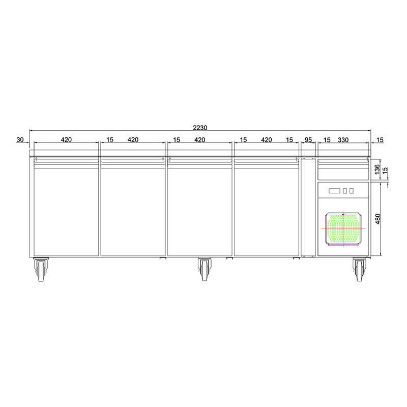 Husky Four Door Prep Counter Style Refrigerator Dimensions