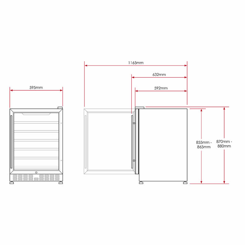 154L Dual Zone Wine Fridge in Stainless Steel | HUS-WC54D-ZY