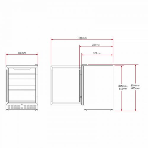 Vino Pro Dual Zone Wine Fridge Dimensions