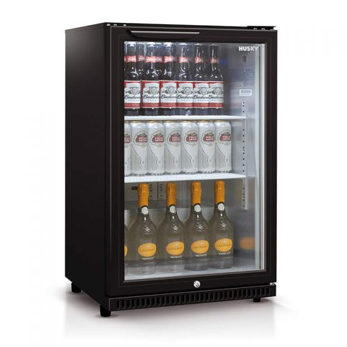 118L Single Glass Door Bar Fridge in Black | HUS‐C1‐840‐BLK