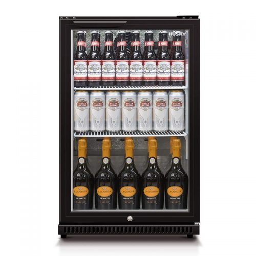 Husky Single Glass Door Bar Fridge in Black