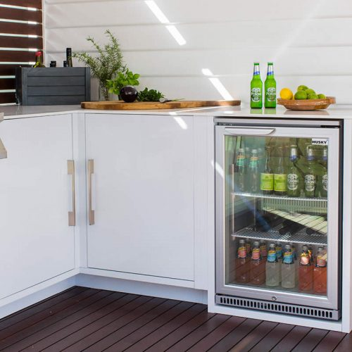 Husky Single Glass Door Bar Fridge Lifestyle