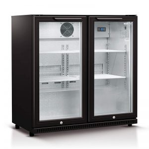 Husky Double Glass Door Bar Fridge in Black