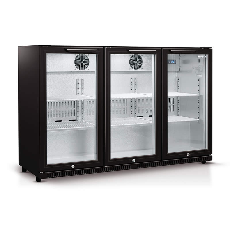 Back Bar Fridge | Husky Triple Glass Door Bar Fridge in Black