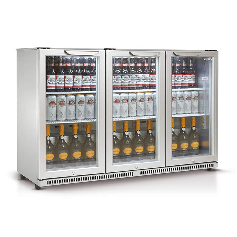 Husky Triple Glass Door Bar Fridge