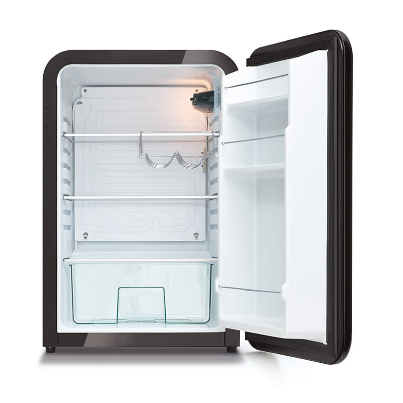 Husky Retro Bar Fridge in Black - Open