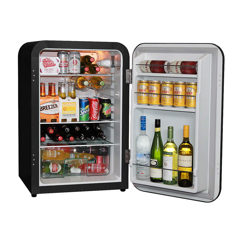 Husky Retro Bar Fridge in Black - Stocked 2