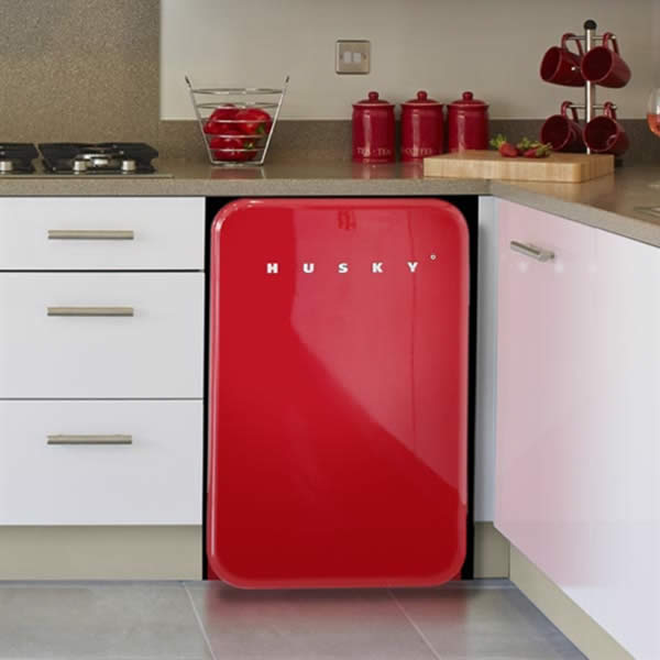Husky Retro Bar Fridge in Red - Lifestyle