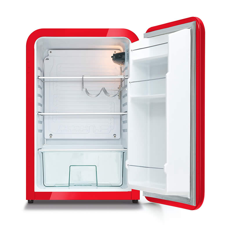 Husky Retro Bar Fridge in Red - Open