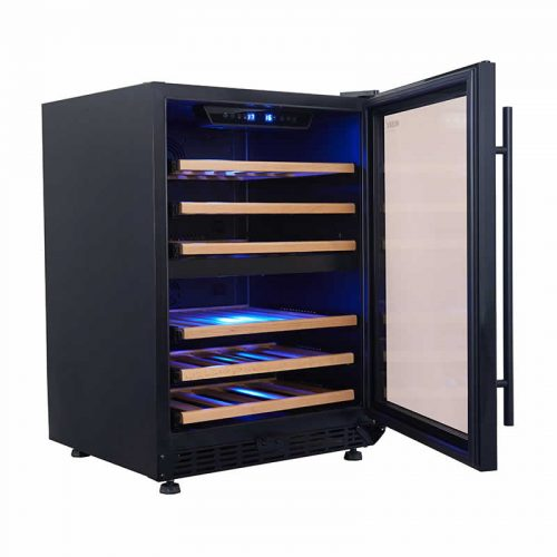 154L Dual Zone Wine Fridge in Black | HUS-WC54D-BK-ZY