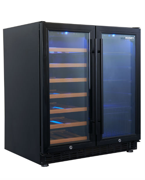 Black Dual Zone Cabinet & Drink Chiller HUS-WC66B-BK-ZY