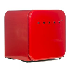 HUSD-RETRO50-RED - Husky Retro Style Mini Bar Fridge In Red - Front Left