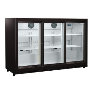 Husky Triple Sliding glass Door Drinks Chiller In Black