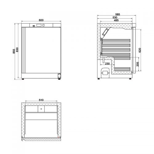 78L Single Solid Door Commercial Refrigerator   CSS1H-SD-HT